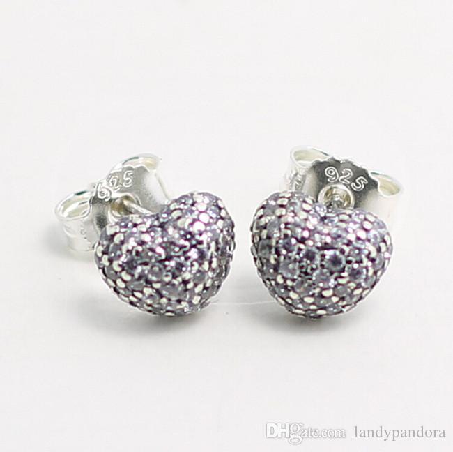 High-quality New 100% S925 Sterling Silver Stud Earrings European Pandora Style Jewelry Earrings In My Heart with CZ Stud Earrings