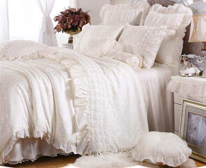 Incroyable Korean Princess Milk White Satin Jacquard Textile Wedding Satin Jacquard  Bedspread Bedding Sets Pillowcase, Bed Skirt Duvet Cover Satin Fabric Lace  Duvet ...