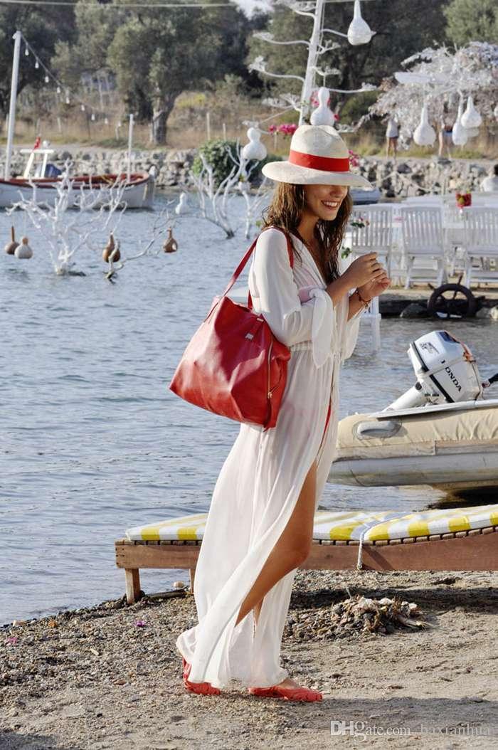 2016 Sexy Beach donne di occultamento manica lunga allentato costume da bagno Lunghezza Cover Up Ankle Long Beach vestito puro trasporto libero costume da bagno vintage
