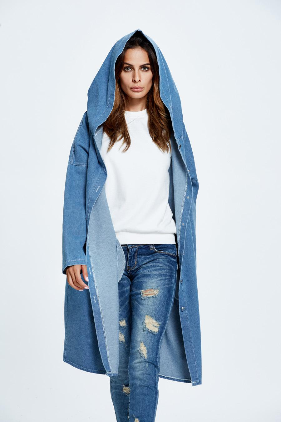 Hooded Denim Trench Women Street Style Single Breasted Double Pocket Long Sleeve Costs Cardigan Leisure Loose Long Trench Coat