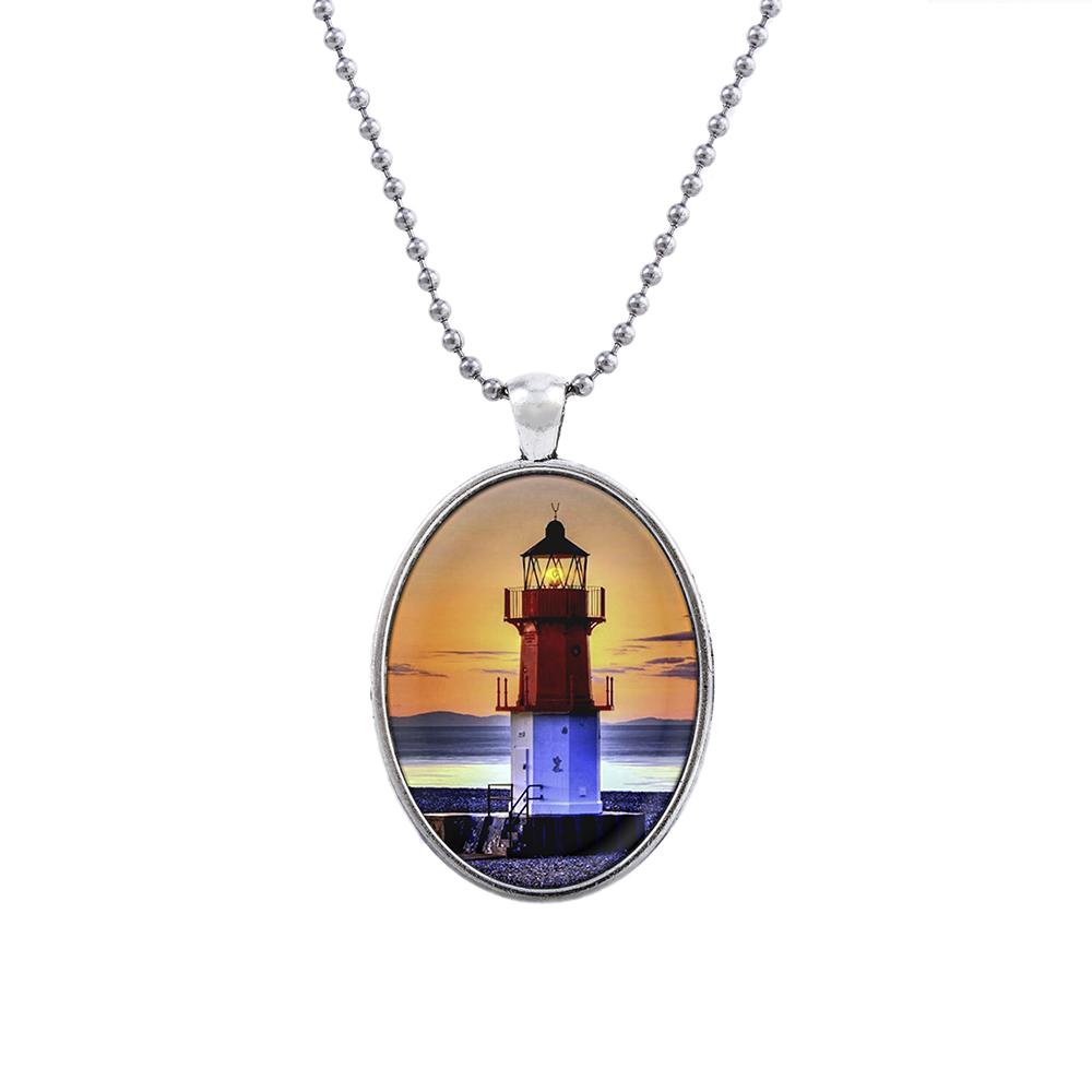 CP1601066 Fashion Jewelry Hight Quality Glass Necklace Sets For Women Jewelry Unique lighthouse Design Party Gift