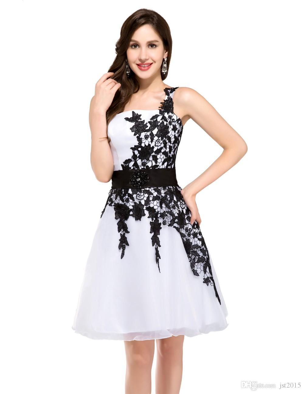 White Lace Cocktail Dresses Sexy One Shoulder Robe De Cocktail 2016 Karin Vestido Cocktel Short Cocktail Dress