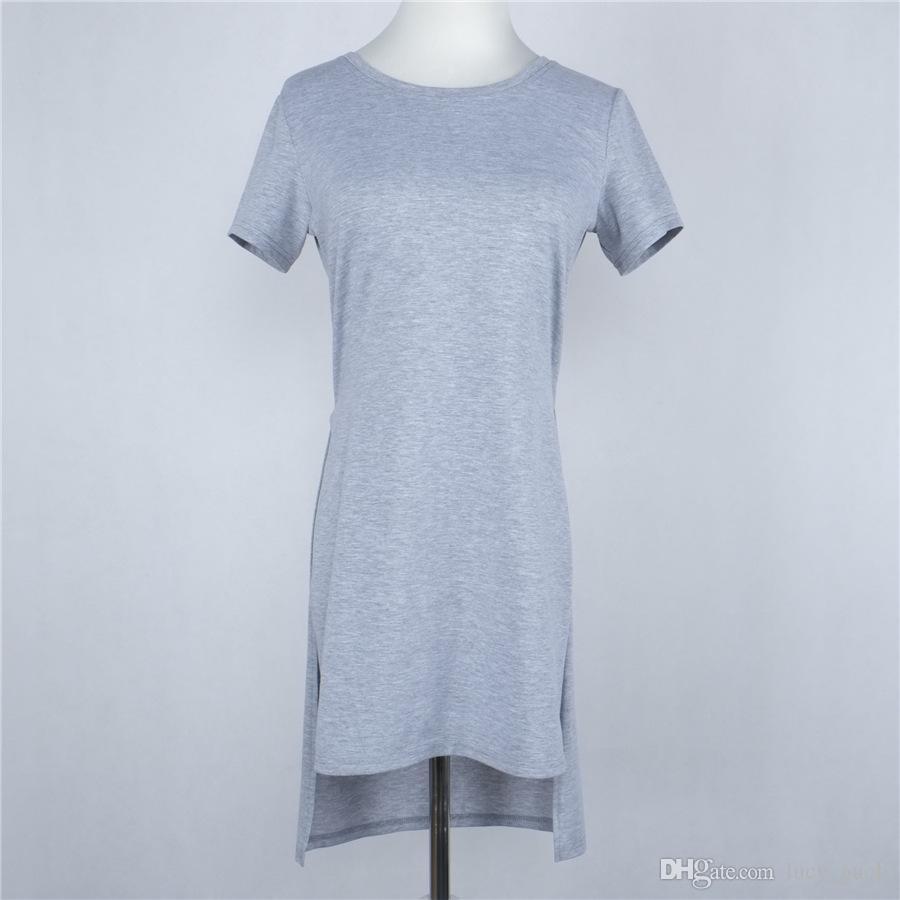 Women Dress Summer 2016 Grey T-shirt Dress Short Front Long Back High Side Fashion Women Two Side High Split Blouse Dress Sheer Tops
