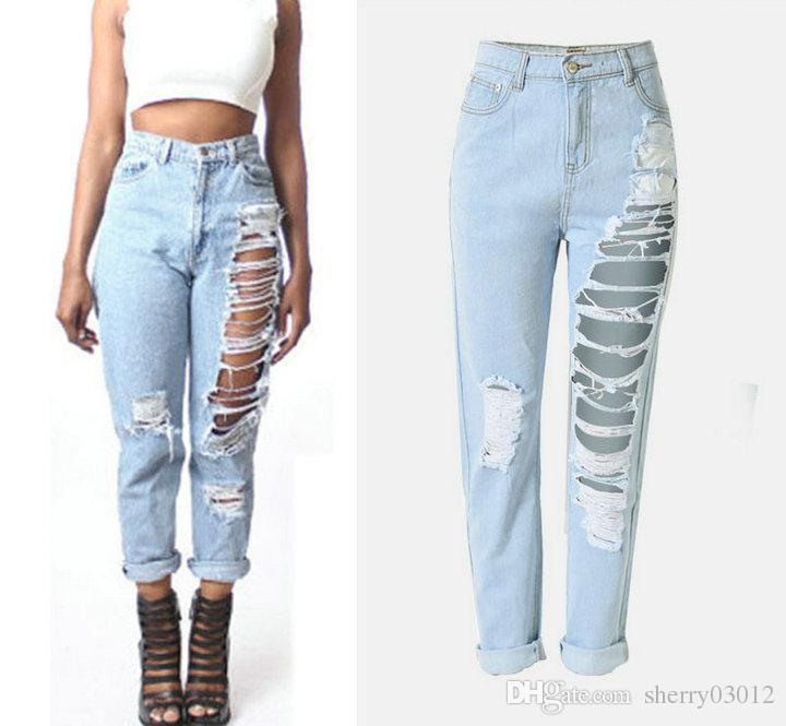Acquista 2017 Jeans Delle Donne Di Moda Foro Pantaloni Dritti Jeans  Strappati Con Fori Signore Jeans Allentati In Denim Pantaloni Casual Nappe  Jeans ... 0e7532e71501