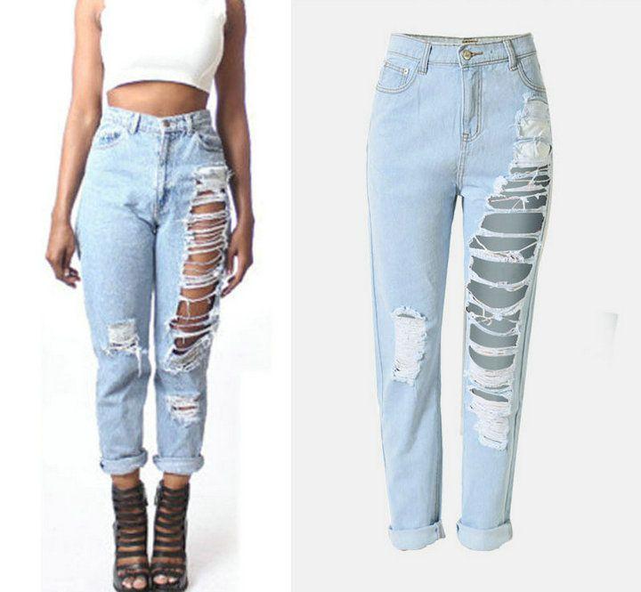 a4b84a55a7 Compre 2017 Moda Para Mujer Pantalones Vaqueros Pantalones Rectos Pantalones  Vaqueros Rasgados Con Agujeros Damas De Mezclilla Sueltos Pantalones Jean  ...