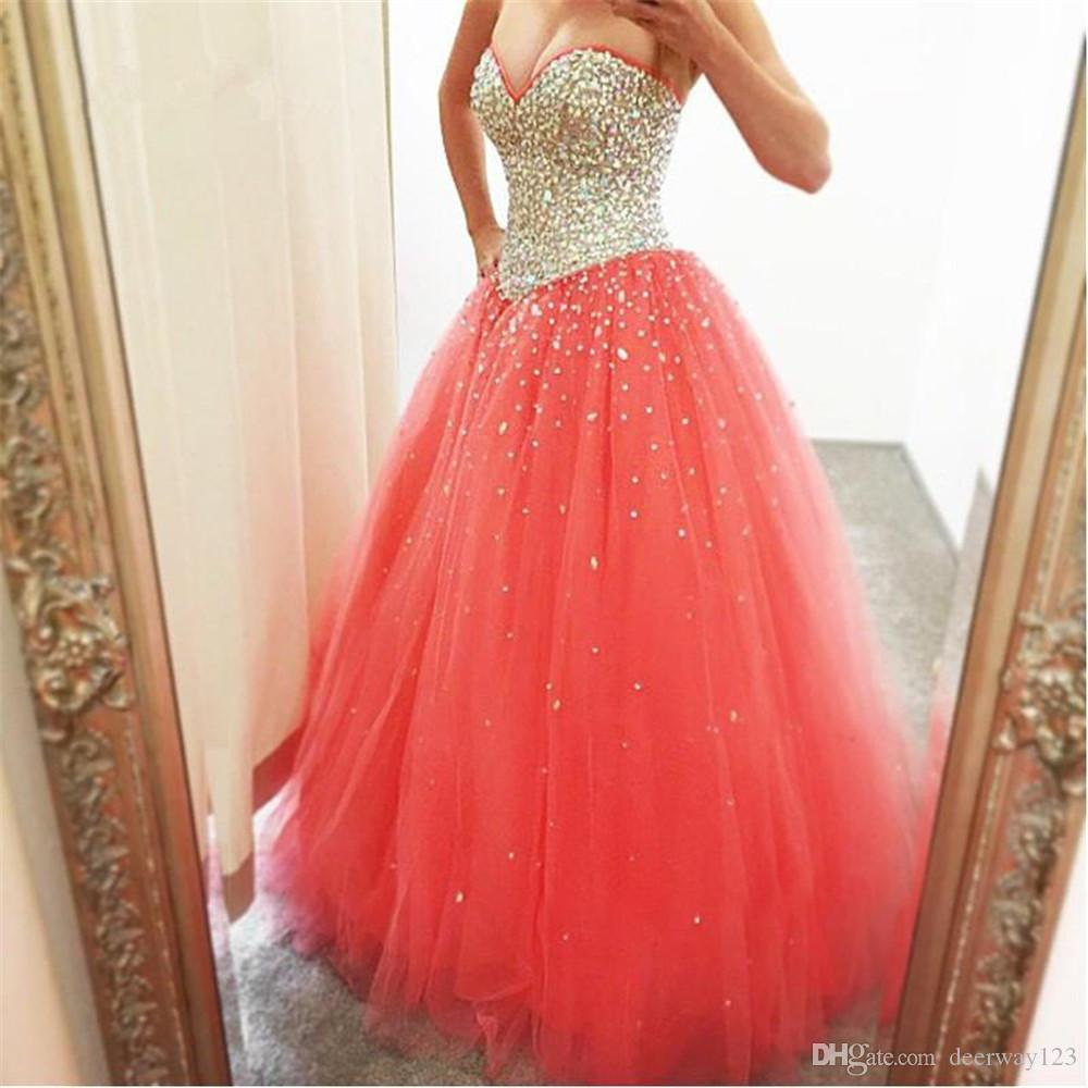 Puffy 2019 cristales cariño tul quinceañera brillante vestidos baratos vestidos de bola Bling Bling blusa larga vestido de fiesta vestido de graduación barato