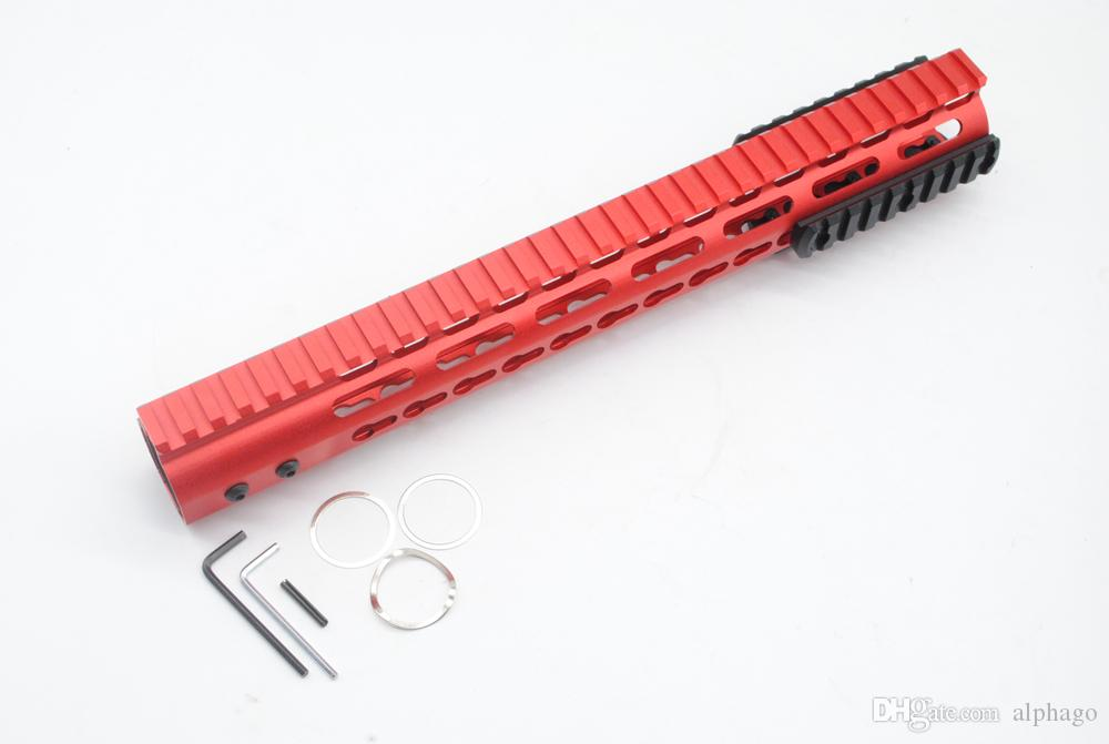 Unique Chinese Red 13.5'' Ultralight Key Mod Handguard Rail Mount With Steel Barrel Nut + Rail Section