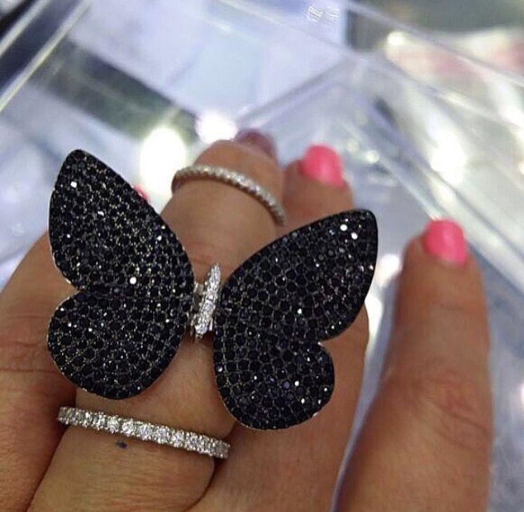 Gümüş 925 lüks tasarım yapılmış kelebek beyaz mavi yeşil kırmızı veya siyah zirkon düğün takı ile hareketli kelebek yüzük