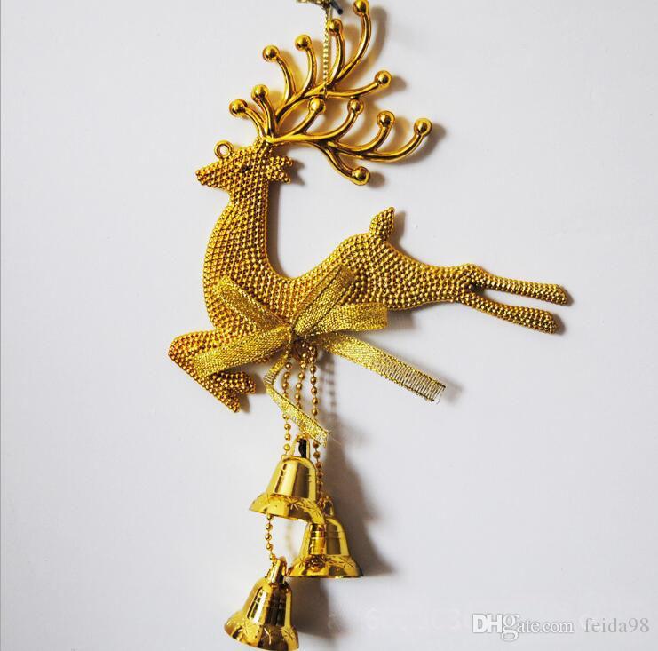 Weihnachten hängenden Dekor Weihnachtsbaum hängende Elch Bell Jingle Anhänger Party Dekoration Ornamente G852