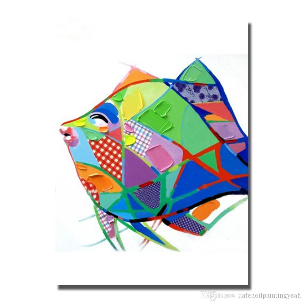 Modern Soyut Akrilik Resimlerinde Yatak Odası Dekor El Boyalı Balık Yağlıboya Tuval Dekoratif Duvar Boyama Toptan Sanat Yok Çerçeveli