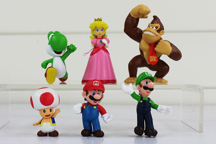 In Box Super Mario Bros Luigi donkey kong Peach Toad yoshi Action Figures yoshi mario figure toys doll