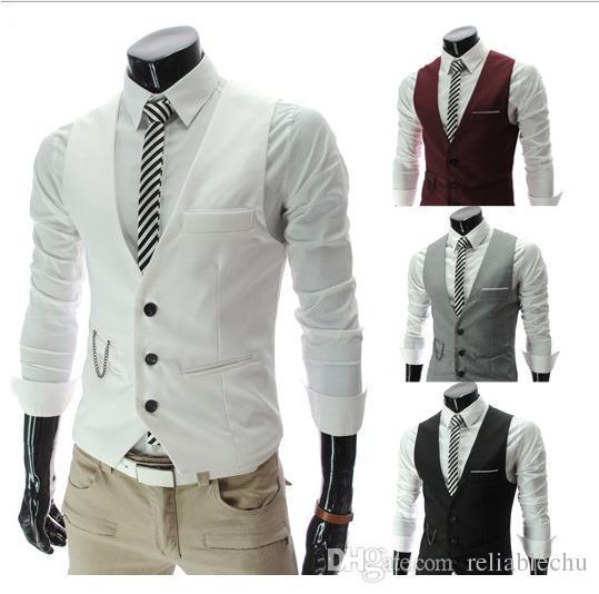Vest Men Sleeveless Solid Color Metal Chain Decorations Design Single Breasted V Neck Brief Stylish Fashion Mens Dress Vest