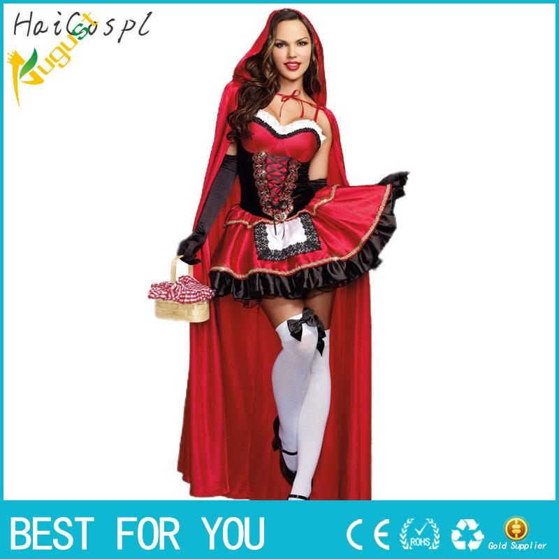 hot sale 2017 little red riding hood costume for women fancy adult halloween cosplay fantasia plus size xl dresscloak groups of 5 costumes best team
