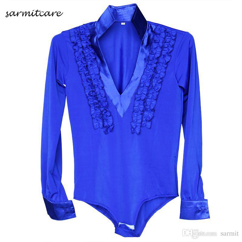 Camisa de Dança latina para Homens Menino 5 Cores Adulto Crianças Tamanhos D086 Trajes de Dança de Samba Tango Traje de Samba Roupas de Dança Camisas latinas
