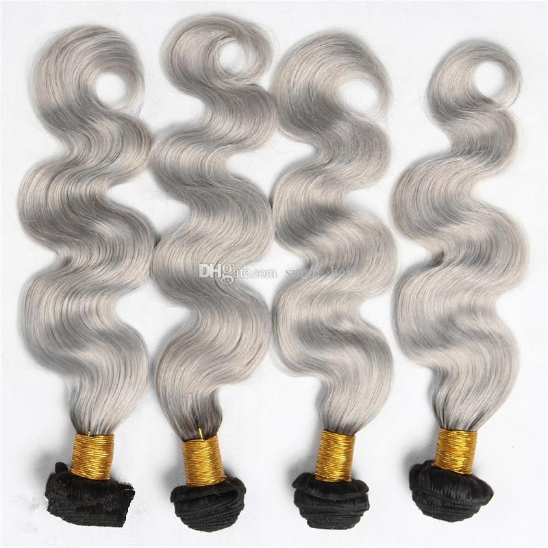 9A Ombre Silver Grey Human Hair Extensions Two Tone 1B Grey Dark Root Ombre Body Wave Hair Weaves Weft 4 Bundles
