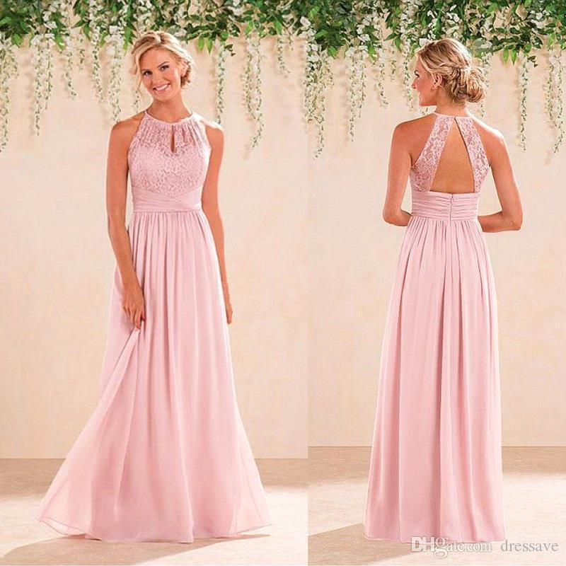 2018 New Bridal Peach Pink Bridesmaid Dresses Country Style Halter ...