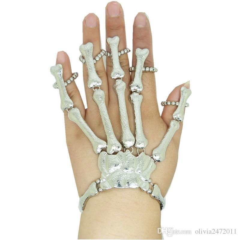 Hot Punk Ring Armband Schmuck Hipa Skeleton Hand Knochen Talon Klaue Schädel Armband Manschette Finger Nagel Knuckle Ring Silber Gold JS1
