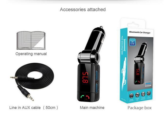 bc06s Wireless Dual USB Bluetooth Kit Car Charger Stereo 5V 2.1A CVC MP3 Player FM Transmitter BC06