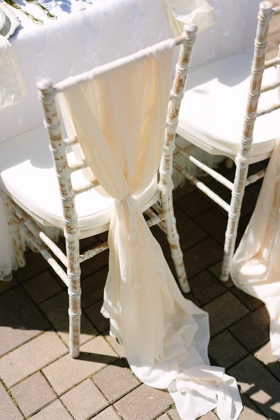 Custom Made 2016 Feminine Champagne Chiffon Chair Covers Cheap Chair Sashes Romantic Wedding Decorations Wedding Supplies 076
