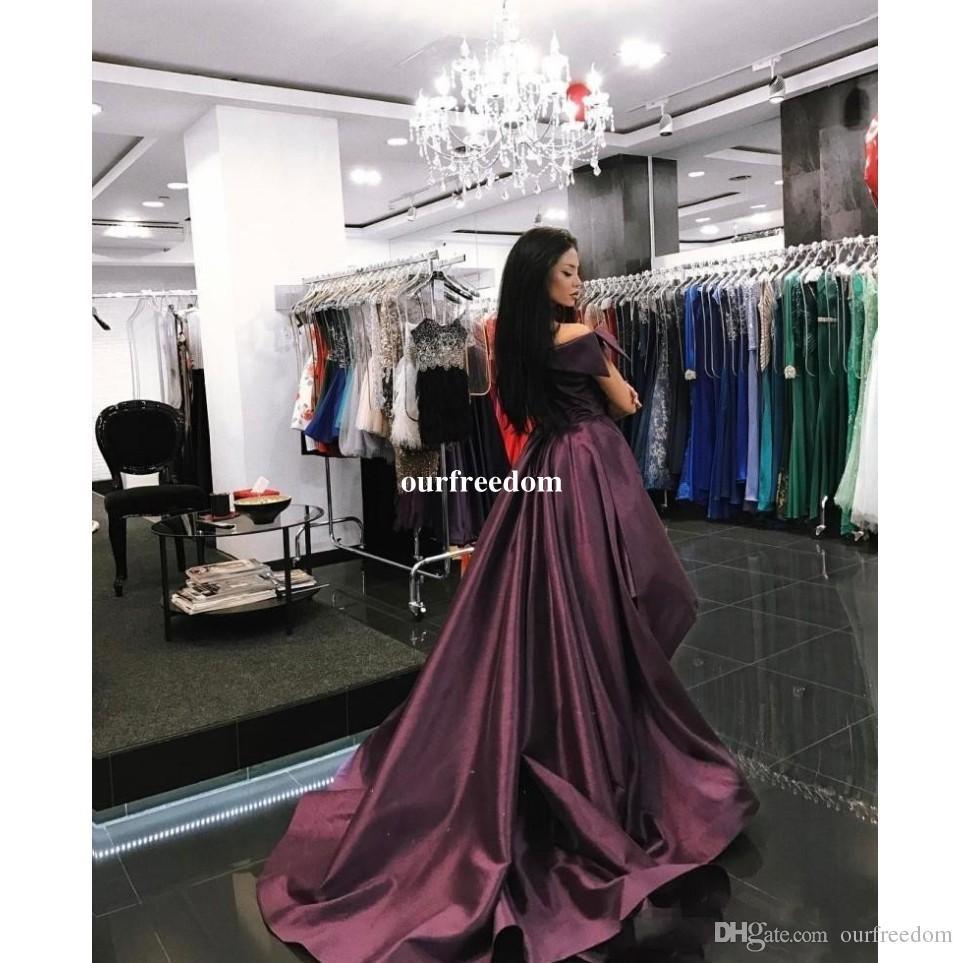 2019 Abaya Schulterfrei Abendkleider Traubentaft Mit Abnehmbarem Zug Formelle Anlässe Saudi Arabisch Abendkleid Nach Maß