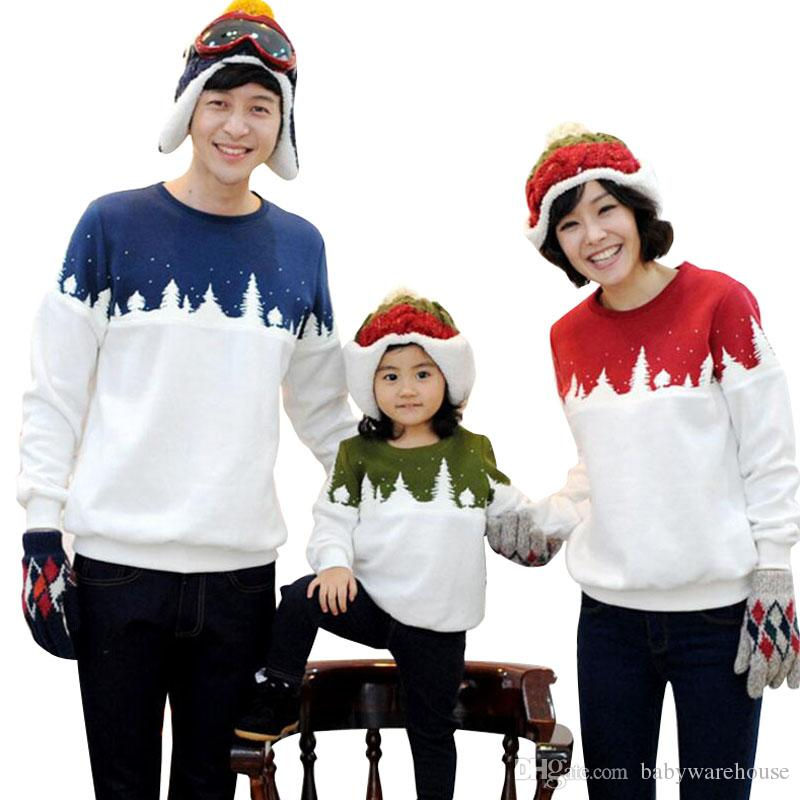 Matching Family Clothing Christmas Tree Pattern Family Outfits Long Sleeve  T Shirts Mommy And Me Father Mother Daughter Son Matching Clothes Outfits  For ... - Matching Family Clothing Christmas Tree Pattern Family Outfits Long