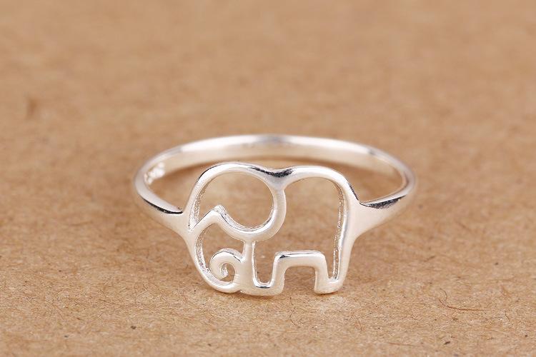 100% 925 Fits bijoux européenne branche Elephant Argent Anneaux Marque Fashion Finger Anneaux de haute qualité anneau femmes ouverts antiallergique