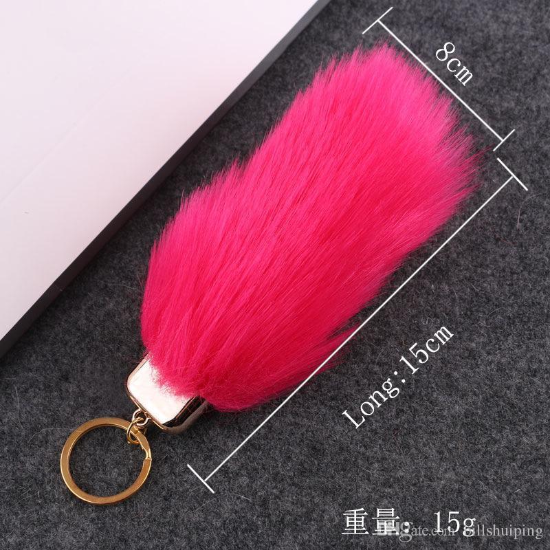 Portachiavi della catena chiave del keychain della pelliccia del faux gli amanti Anelli chiave del sacchetto dell'automobile della pelliccia degli imitazione Pom trasporto libero