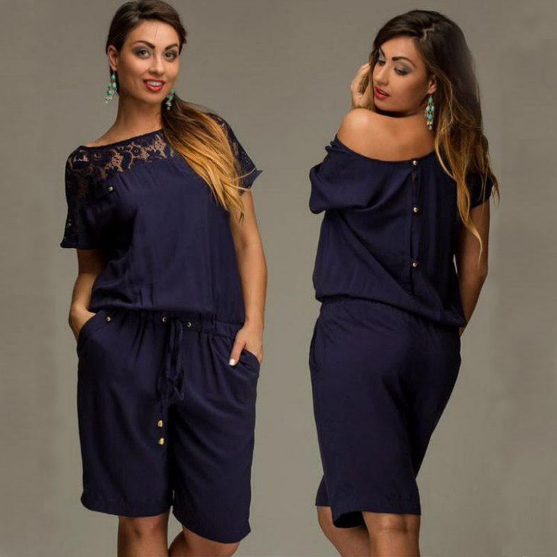 35ca6aba4b3 2019 Short Sleeve Lace Summer Women Jumpsuit Big Sizes Loose Dress 2016 New  Summer Plus Size Women Clothing Knee Length Vintage Vestidos L 6XL From ...