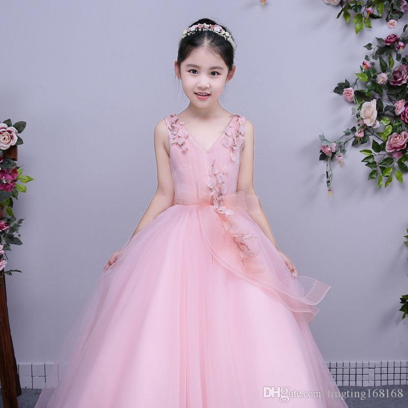 f589c837c5a8 Girl Flower Dress Pageant Ball Gown Princess Party Prom Birthday ...