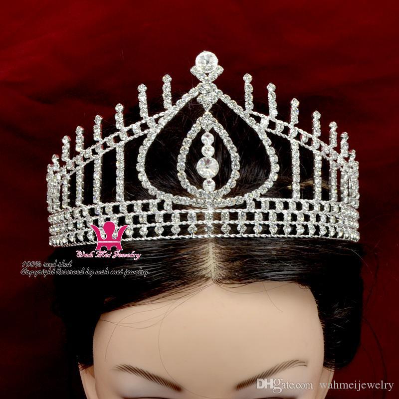 Rhinestone Taçlar Tiaras Hong Kong Özledim Güzellik Yarışmasında Kraliçe Gelin Düğün Prenses Parti Balo Gece Clup Gösterisi Kristal Kafa Firkete