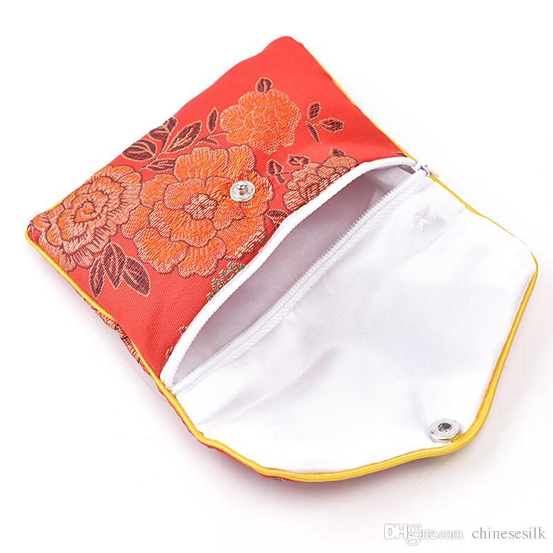 Sacchetto della borsa della moneta della chiusura lampo floreale piccolo Sacchetto del regalo del sacchetto della carta di credito dei monili del sacchetto del braccialetto del broccato di seta cinese Commercio all'ingrosso 6x8 8x10 cm / l