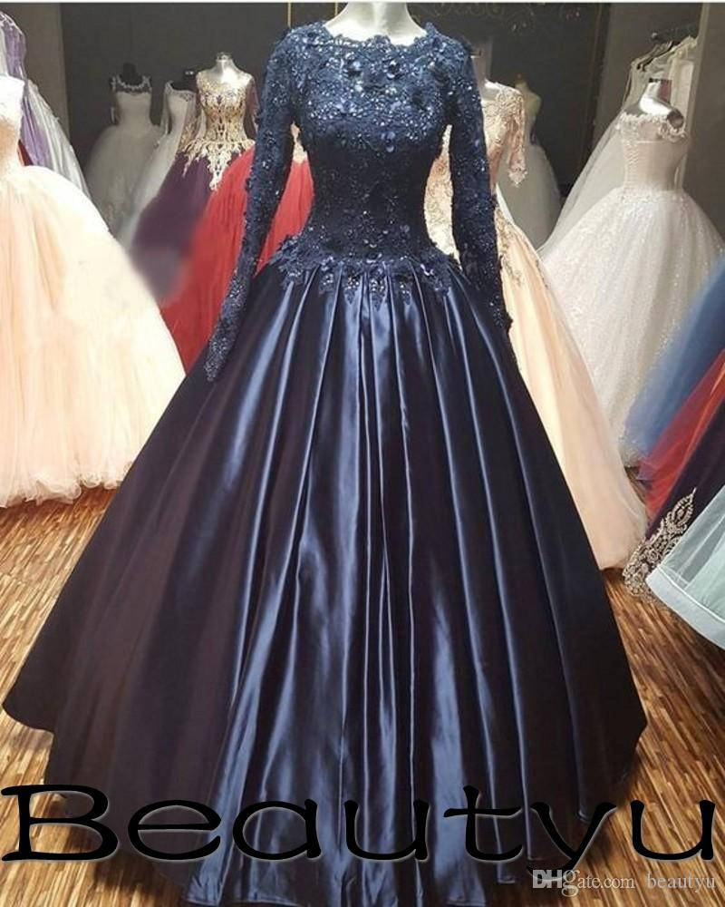 Muslim Navy Blue Ball Gown Evening Gowns 2018 Arabic Long Sleeve Kaftan  Vestidos 3D Floral Appliques Lace Satin Beaded Prom Formal Dresses Cheap  Evening ... 414726843947