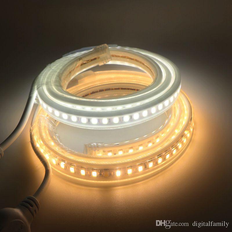 2016Summer New LED Tape SMD5630 / 5730 Impermeable IP65 120led / m 1m 2m 3m 4m 5m 6m 10m Hotel Hogar Decoración Exterior LEDAC220v / 110v + enchufe de alimentación
