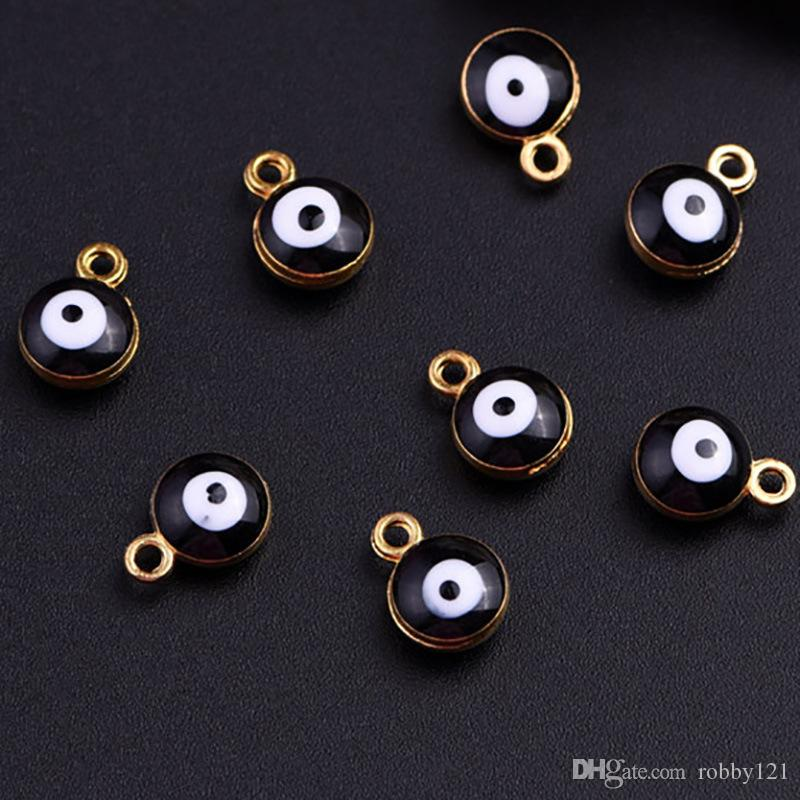 Wholesale Zinc Alloy Gold Tone Black Evil Eye Protection Round Bead Charm For Jewelry Making DIY