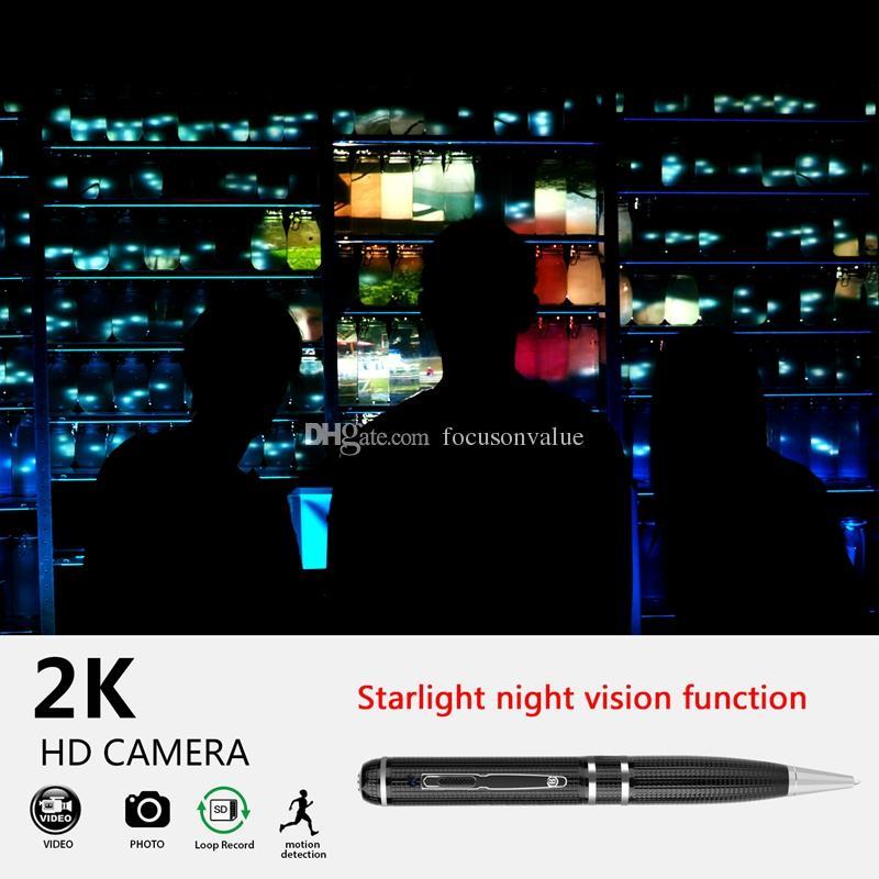 Süper HD 2304x1296 P 1080 p 2 k Mini Kalem Kamera 16 GB 32 GB H.264 Hareket Algılama Kalem DVR Desteği starlight gece görüş fonksiyonu