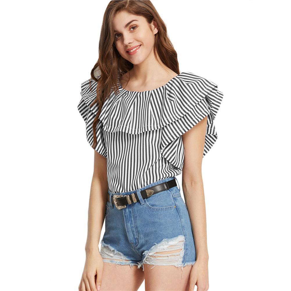 Black Shirt Blouse Striped Women Short Brand Sleeves Ruffles White xqPI6