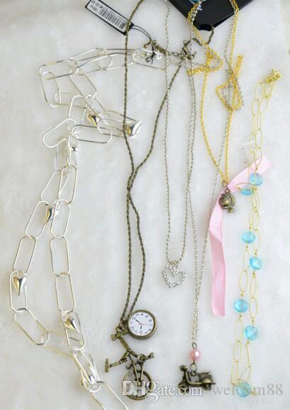 10 stks / partij mix stijl bloem mode hanger ketting voor diy craft sieraden cadeau 22 inch NE18