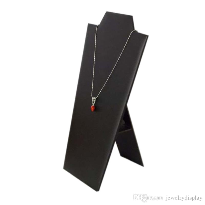 """Necklace Display Necklace stand black velvet 8 1/2"""" White leather And Black leather"""