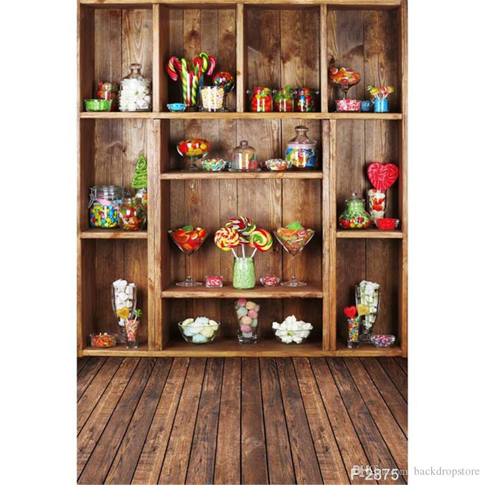 Vintage Brown Cabinet Colorful Candy Photography Backdrops Wood Floor Computer Printed Vinyl Children Kids Backgrounds For Photo Studio Backdrop