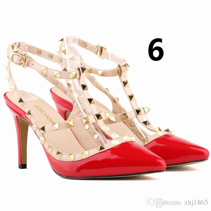 big size 35-42 fall 2016 SEXY WOMEN candy color 9CM high heel rivet T strap ankle pump lady club party close anti-wolf shoes