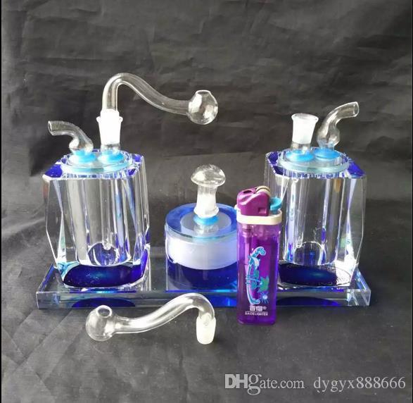 Double with crystal snuff --glass hookah smoking pipe Glass gongs - oil rigs glass bongs glass hookah smoking pipe - vap- vaporizer