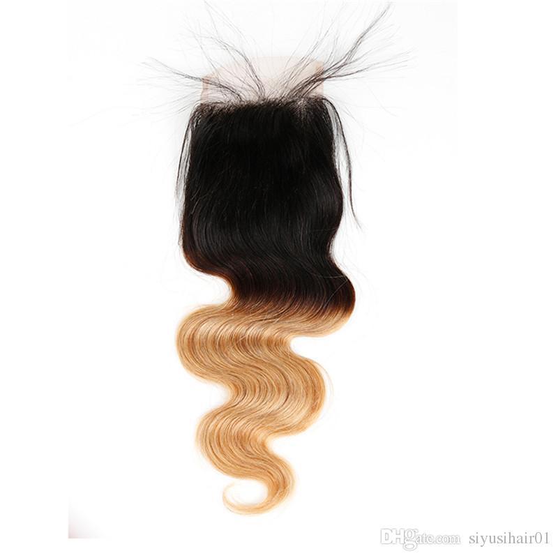 페루 버진 바디 웨이브 헤어 묶음 Ombre Hair 3 4 번들과 묶음 금발 레이스 폐쇄 1B / 27 인간의 머리카락 확장