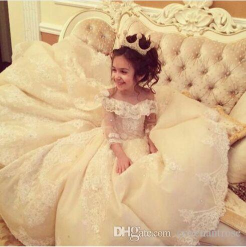 Flower Girl Dresses for Weddings with Train Lace Ball Gown Little Girls Pageant Dress White Ivory First Communion Dresses for Girls