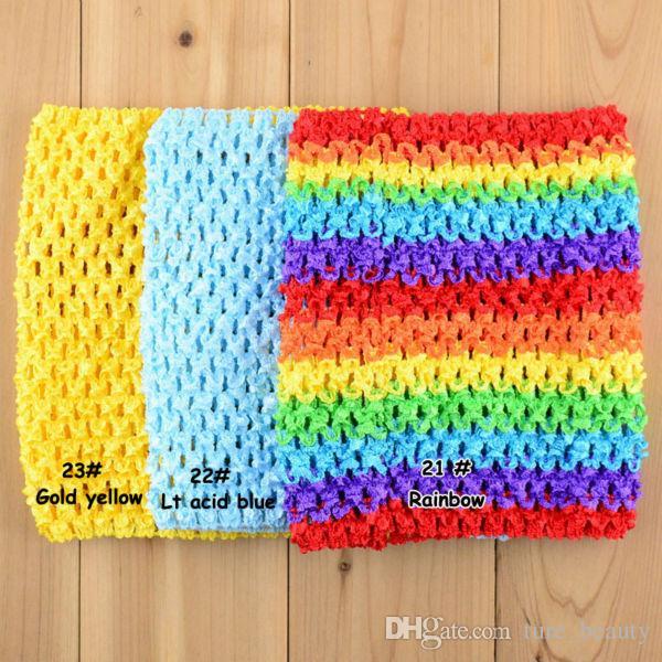 "15% off! 6""/9""/10""/12"" Baby Girls elastic Crochet Tutu Tube Tops tensile Chest Wrap Wide Stretch Colored Tutu Headband"