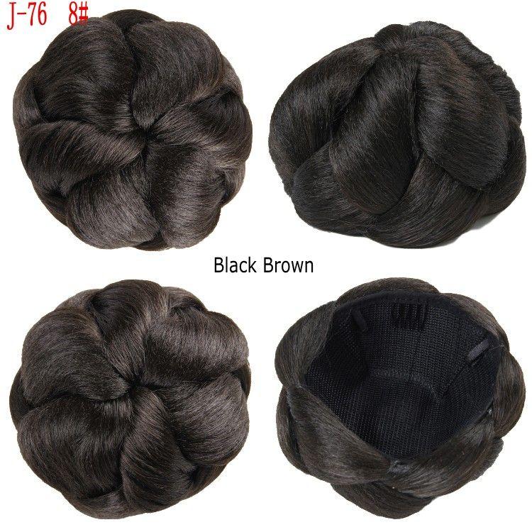 Sara Women's Bride chignon Hair Bun Extension Hairpieces 10*6CM Clip-in Jumbo Braids hair chignon Bun 60G Synthetic Hair Bun