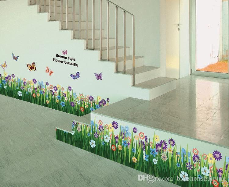 Good Wholesale Butterflies Grass Flower Removable Wall Sticker Decal Kids Room Nursery  Wall Decor Home Decoration House Decals House Wall Stickers From ...
