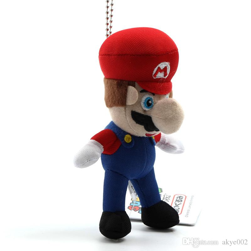 2 Style 9cm MARIO And LUIGI Super Mario Bros Plush Doll Keychain Pendant Stuffed Toys For Baby Good Gifts
