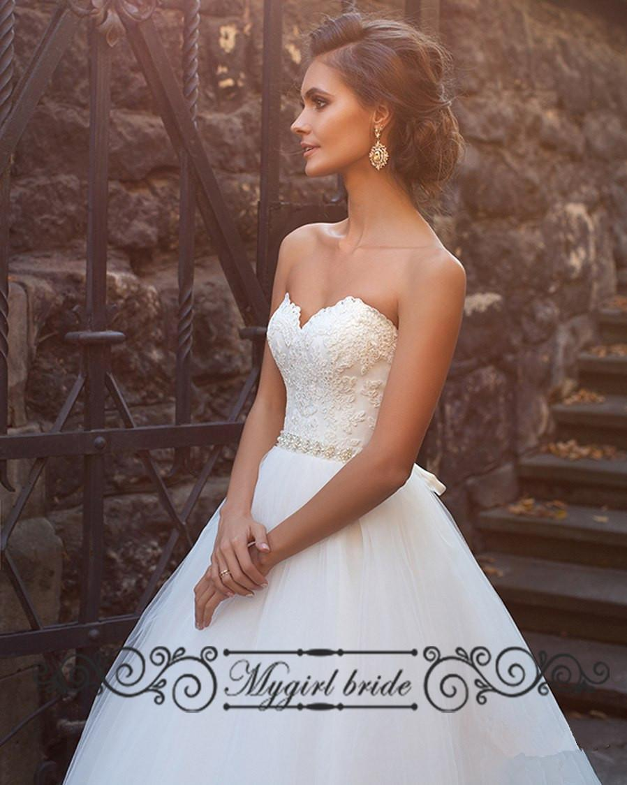 Empire Waist Wedding Dresses Sweetheart Princess Lace Ball Gown