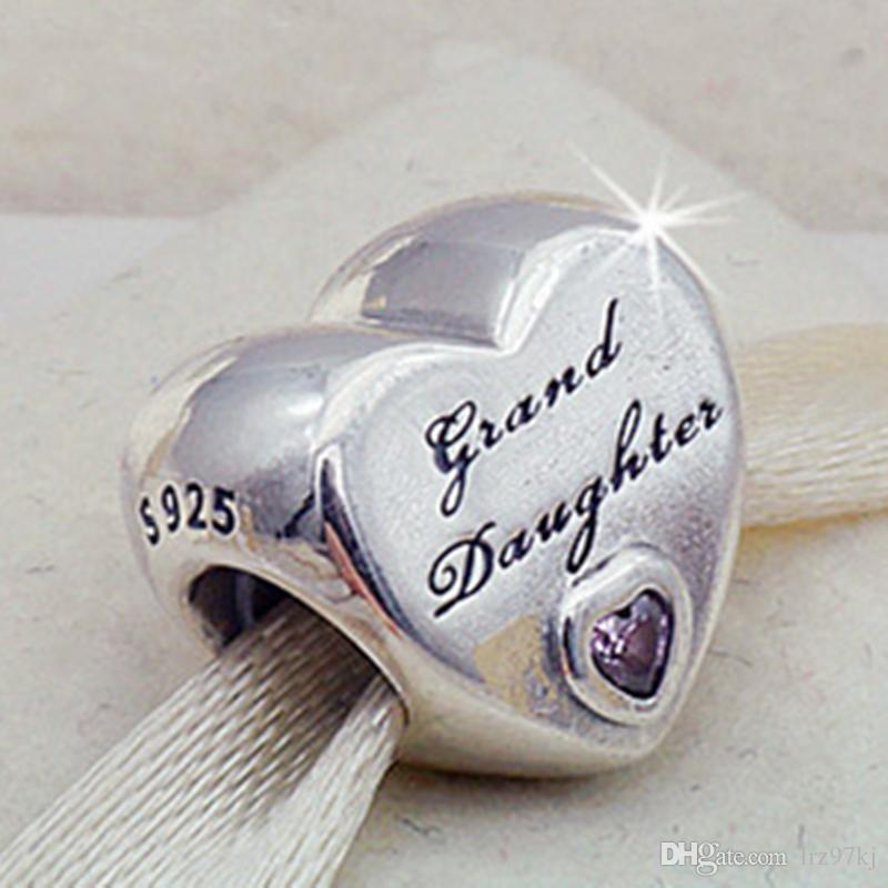 0f9d1f639 New 100% 925 Sterling Silver Granddaughter's Love Charm Bead with Cz Fits  European Pandora Jewelry Bracelets