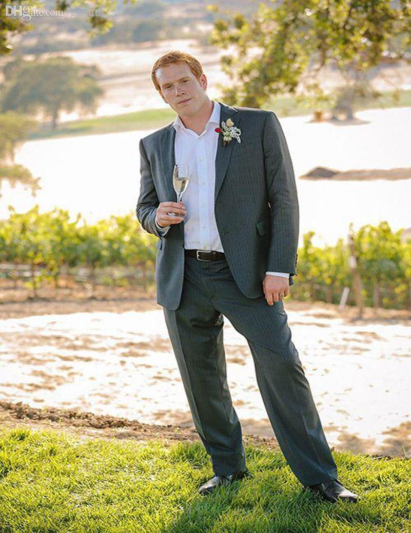 2018 Wholesale Gray Beach Linen Suit Men Tuxedos Grooms Suits For ...